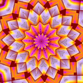 Then Big Bloom by Nancy Bowen - Illustration Flowers & Nature ( kaleidoscope, abstract art, flower )
