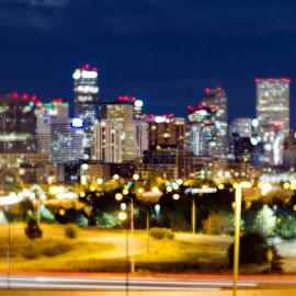 Skyline by Jake Pedroza - City,  Street & Park  Skylines ( cityscapes, skyline, colorado, downtown denver, cityscape, panorama, street photography, city, soft focus, denver, skylines, downtown, panoramic )
