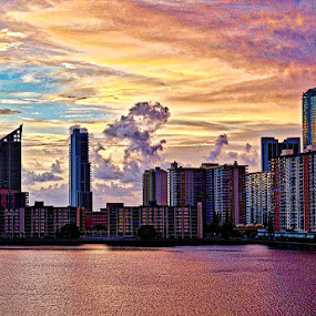 Sunrise on Williams Island, FL by Neil Dern - Buildings & Architecture Office Buildings & Hotels ( water, sky, places of interest, architecture, sunrise )