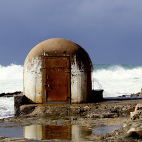 Rising Tide by Carleen Corrie - Buildings & Architecture Public & Historical ( water, building, waves, ocean, rocks )