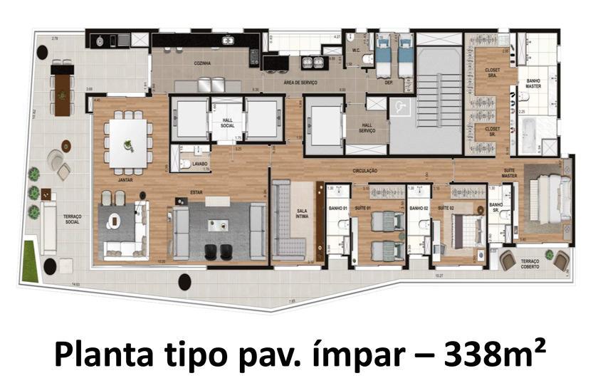 Planta Tipo Pav Ímpar - 338 m²