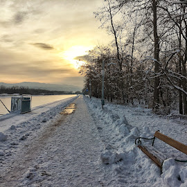 Winter  by DC Photos - Instagram & Mobile iPhone ( plovdiv, winter, sunset, snow, rowing_channel, landscape, bulgaria )