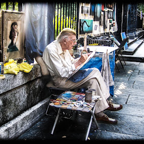 The Aging Artist of New Orleans by Victoria Evans - People Street & Candids ( louisiana painter, new orleans, decatur street, artist )