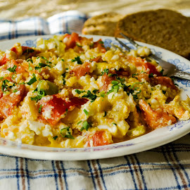 Scrambled eggs with vegetables and cheese. by Yancho Zapryanov - Food & Drink Plated Food ( burned, orange, breakfast, green, coffee, yellow, scrambled, fried, yolk, morning, egg, basil, pan, herb, food, drink, omelet, cooking, lunch, vegetable, meal )