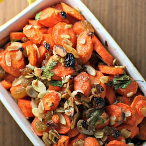 Roasted Spiced Carrots With Golden Raisins And Almonds
