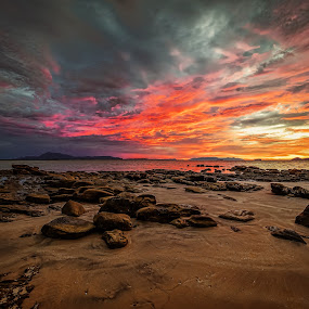 Last Ray of Sunlight by NC Wong - Landscapes Sunsets & Sunrises ( clouds, santubong, sunset, seascape, beach, rocks )