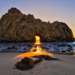 Sunset at Keyhole Rock by George Krieger - Landscapes Beaches ( keyhole, sunset, rock, keyhole sunset )