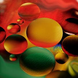 Chain reaction by Carole Pallier Cazzazsnapz - Abstract Macro ( abstract, colour, water, macro, art, oil )