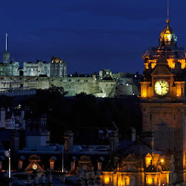 Castle and Clock by Graham Hill - Buildings & Architecture Public & Historical ( calton hill, edinburgh, clock, clock tower, long exposure, night, castle, edinburgh castle, night photo course,  )
