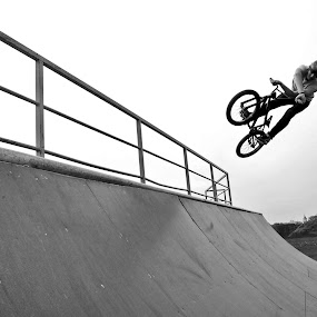 X-up by Adrienn Liker - Sports & Fitness Cycling ( fit, cyclist, black and white, biker, bmx, sport, trick )