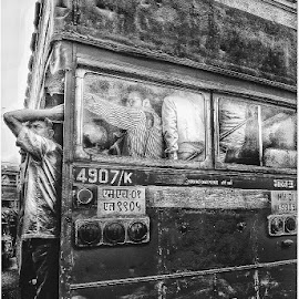 Humans of Bombay  by Parag Katekar - City,  Street & Park  Street Scenes ( mumbai, bus, expression, streets, phone, edit, monochrome, black and white, human, street photography )