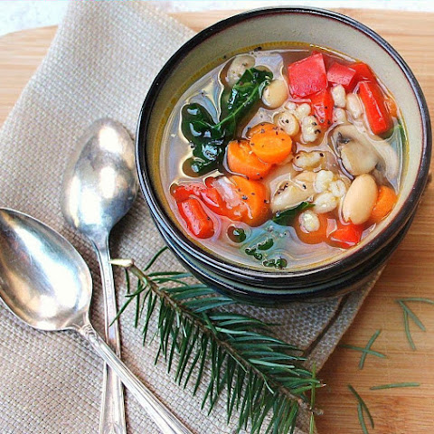 Pearled Barley Vegetable Soup with White Bean and Kale