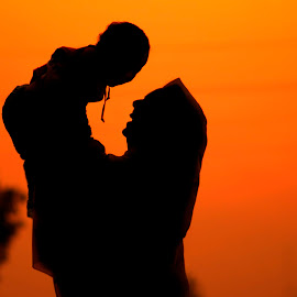 Always Love Your Mother Caus you Never Get Onother by Ahsan Changezi - People Family ( love, mothers, silhouette, sunset, baby boy, photography )