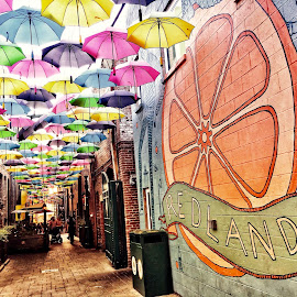 Orange Street ,Redlands,California  by Nelida Dot - City,  Street & Park  Street Scenes ( art, mural, shops, umbrellas, street photography, architecture )