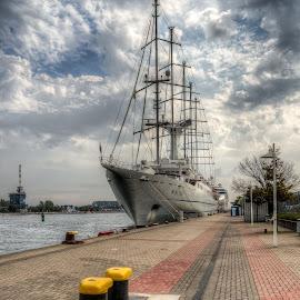 Moored sailboat by Klaus Müller - Transportation Boats ( harbor, ship, sailboat, boat )