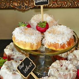 Mini Bundt Cakes by Sandy Stevens Krassinger - Food & Drink Candy & Dessert ( mini bundt cakes, coconut, food, icing, red velvet, sugar balls, lemon, dessert )