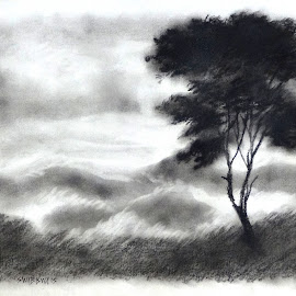 A Cloudy Morning at Loleygaon by Biswajit Thakur - Drawing All Drawing