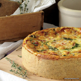 Ham & Arugula Quiche with Creamy Havarti & Smoked Gouda Cheese