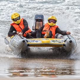 Shore Crash Landing by Francois Cloete - Sports & Fitness Other Sports ( trans agulhas, rubber duck, stilbaai, power, boat, race )