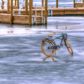 A day to fish by Patti Pappas - Digital Art Things ( michigan, ice, fishing, bicycle )