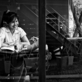 Coffee Shop Interview by Ian Gledhill - People Street & Candids ( shop, black and white, coffee, street, asia, thailand, candid, people, city )