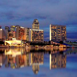 Singapore by Prottay Adhikari - City,  Street & Park  Skylines ( reflection, asia, night, singapore, city )