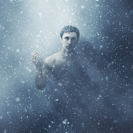 Snowy man by Srdjan Tucakovic - Digital Art People ( mystic, mystical, cold, blue, naked, snow, dark, light, portrait, man )