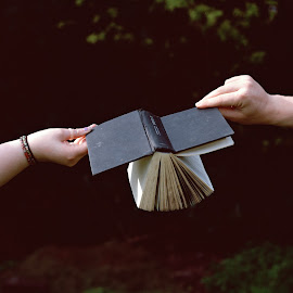 It doesn't even matter by Faye Valentine - Artistic Objects Other Objects ( books, reading, diary, medium format, art, fine art, people, nature, dyslexic, hands, dyslexia, book, dark, arms, english, writting )