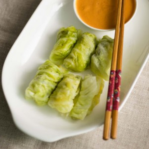 Steamed Cabbage Roll with spicy Peanut Sauce