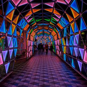 Love Tunnel by Nyoman Sundra - City,  Street & Park  Amusement Parks ( lights, tokyo, night, kourakuen, tunnel )