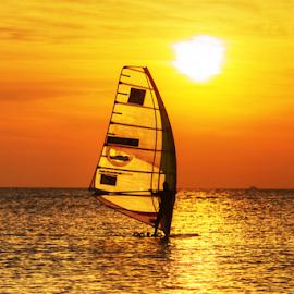 Sailing at sunset by Yuval Shlomo - Uncategorized All Uncategorized ( ocean, sunset, sailing, sun, summer, sea, boat )