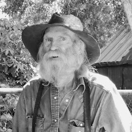 Oldtimer by Nancy Young - People Street & Candids ( black and white, old man, people, man )