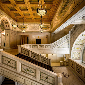 Appreciating the old library. by John Williams - Buildings & Architecture Public & Historical ( chicago cultural center, staircase, library, interior architecture, architecture, chicago )