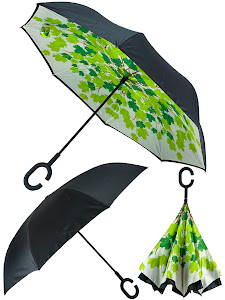 Зонт обратный, черный-красный
