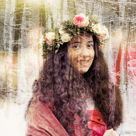 Spring Vision by Eva Lechner - Digital Art People ( double exposure, winter, snow, forest, spring, portrait )
