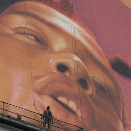 The Look by Victor Mirontschuk - City,  Street & Park  Street Scenes ( art, billboard, places, nyc, artist, street photography )