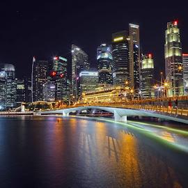 Singapore Skylines by Foto Woz - City,  Street & Park  Night ( explore, skyline, reflection, singapore, business, cbd, skylines, night, bridge, district, light, central, esplanade, river )