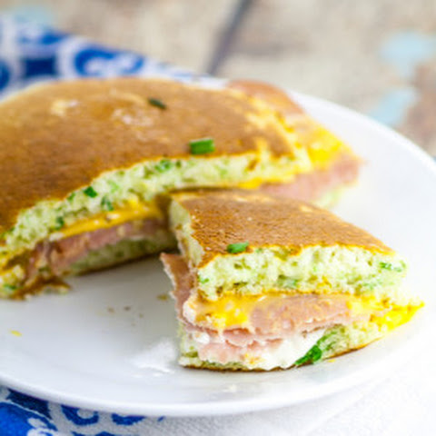 Chive Ham and Cheese Pancake Sandwiches