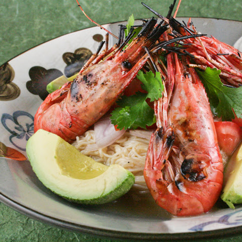 Grilled Pacific Spot Prawns with Cold Somen Noodles in Miso Sauce
