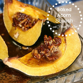 Baked Acorn Squash with Maple Pecan Butter