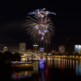 Fourth of July Fireworks in Rochester by Adam Northrup - Public Holidays July 4th ( lights, reflections, fireworks, night, river, city,  )