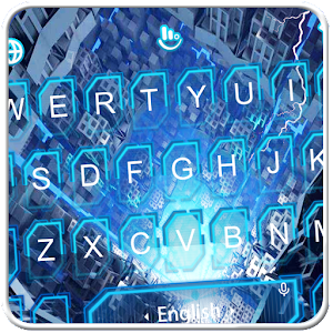 Live 3D Blue Lightning Tech Keyboard Theme For PC