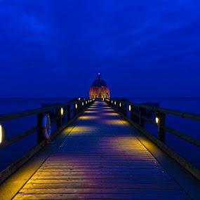 Blue Hour by Friedhelm Peters - Buildings & Architecture Bridges & Suspended Structures ( warm, cold, blue, sea, ocean, bridge, evening )