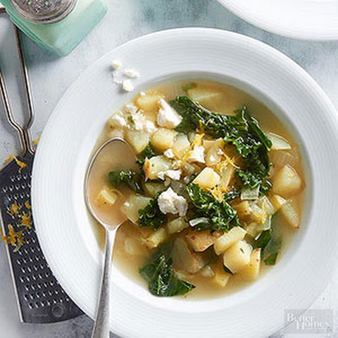 Lemon Potato Soup with Feta