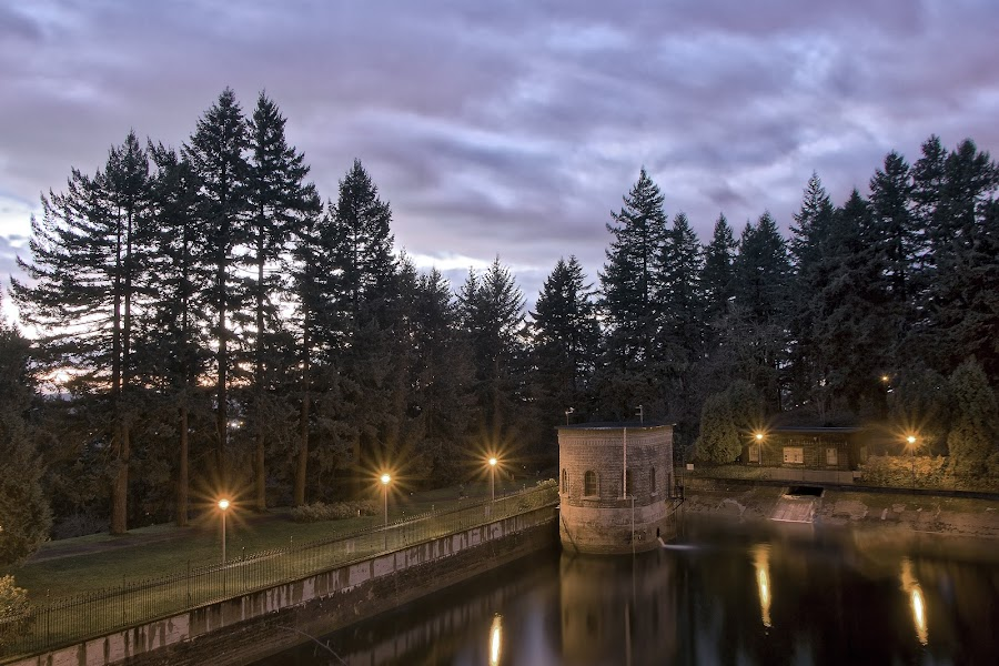 Mt. Tabor Reservoir by Eric Hanson - City,  Street & Park  City Parks ( clouds, water, reservoir, reflectiom, hdr, park, trees, long exposure, night, flare )