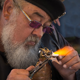 Art of Welding by Eva Ryan - People Portraits of Men ( welding, glasses, art, hobby, fair, fire, norman_oklahoma, midieval fair, hands, norman midieval festival, beard, festival, artist, man )