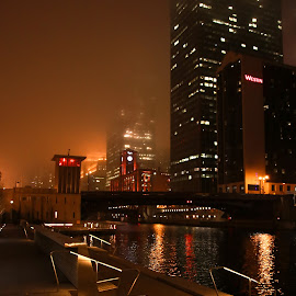 Chicago Night Scape by Jim Nethercott - Buildings & Architecture Office Buildings & Hotels ( chicago river, night photography, fog, downtown chciago, chicago, nightscape )