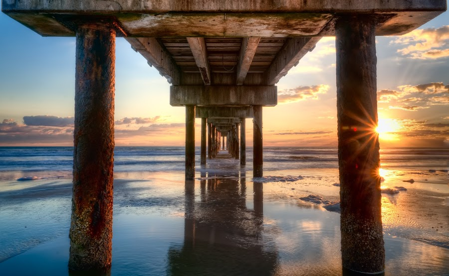 Under the St. Augustine Pier by Tom Baker - Landscapes Waterscapes
