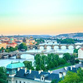 Vltava river by Valliappan Chellappan - City,  Street & Park  Historic Districts ( history, sunset, pragu, vlatava, charles bridge, river )