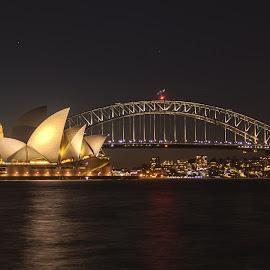 Sydney by Ido Ben-Itzhak - City,  Street & Park  Night ( long exposure, night, bridge, opera house, sydney )